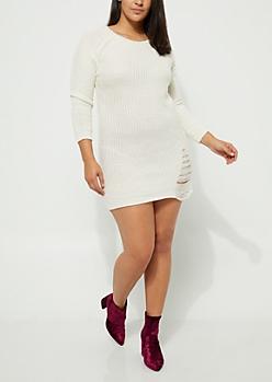 Plus Ivory Distressed Sweater Dress