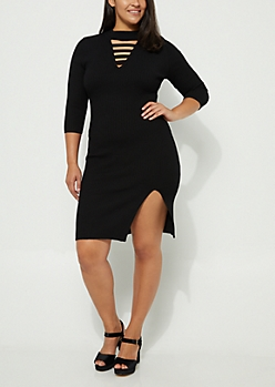 Plus Black Cutout Bodycon Dress