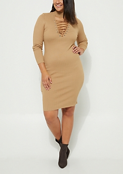 Plus Taupe Lattice Sweater Dress