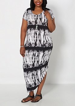 Plus Black Tie-Dye Ruched Side Maxi Dress