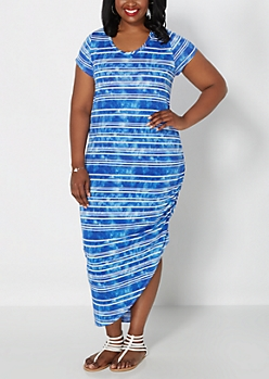 Plus Blue Tie-Dye Stripe Ruched Side Maxi Dress