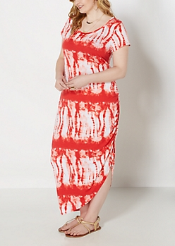 Plus Coral Tie-Dye Ruched Side Maxi Dress