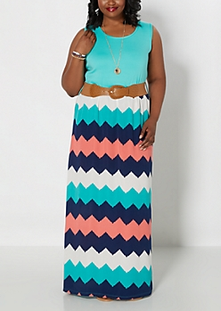 Plus Watercolor Chevron Belted Maxi Dress