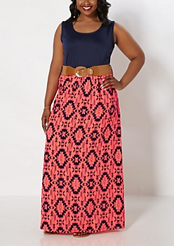 Plus Neon Aztec Maxi Dress