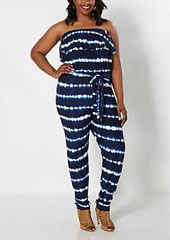 Plus Tie-Dye Wave Ruffled Tube Jumpsuit