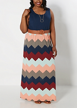 Plus Chevron Belted Maxi Dress