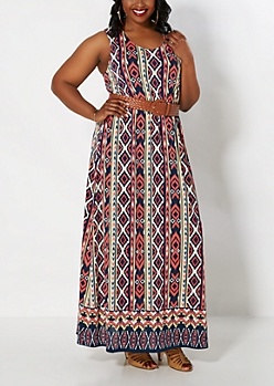 Plus Aztec Belted Maxi Dress
