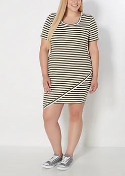 Plus Olive Striped Ringer Mini Dress
