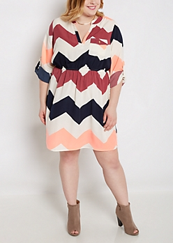Plus Neon Chevron Shirt Dress