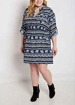 Plus Bohemian Elephant Shirt Dress