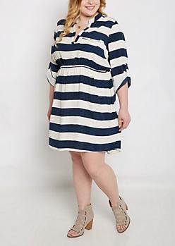 Plus Navy Bold Striped Shirt Dress
