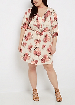 Plus Floral Zip Neck Shirt Dress