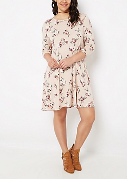 Plus Rosy Lattice Back Swing Dress