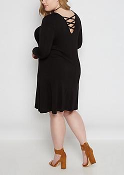 Plus Black Lattice Back Swing Dress