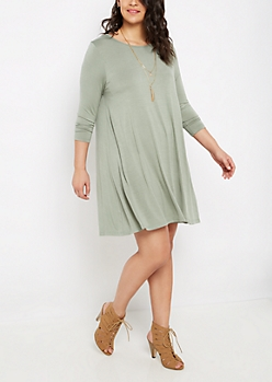 Plus Olive Lattice Back Swing Dress