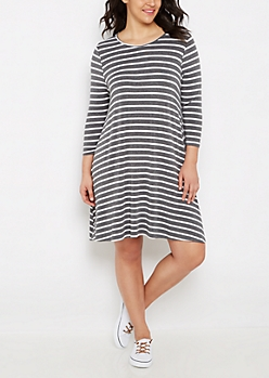 Plus Striped Lattice Back Swing Dress