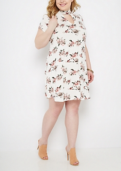 Plus Rosy Keyhole Swing Dress