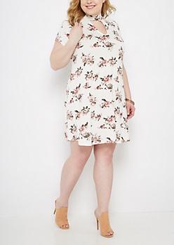 Plus Rosy Keyhole Swing Dress