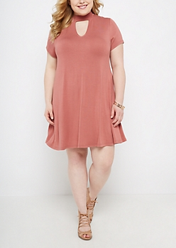 Plus Pink Keyhole Swing Dress