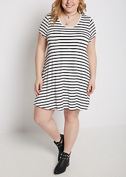 Plus Striped Keyhole Swing Dress