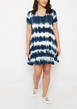 Plus Tie Dye Keyhole Swing Dress