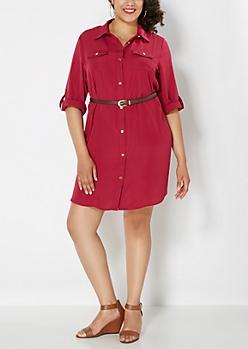 Plus Burgundy Belted Chiffon Shirt Dress
