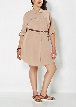 Plus Tan Belted Chiffon Shirt Dress