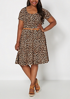 Plus Leopard Print Belted Skater Dress