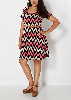 Plus Belted Pink Chevron Skater Dress