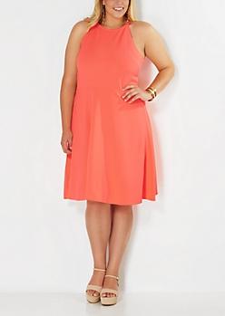 Plus Vibrant Orange High Neck Skater Dress