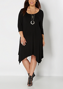Plus Black Jersey Knit Hanky Hem Dress
