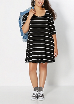 Plus Black Striped Hanky Dress