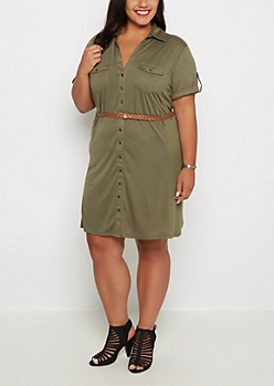 Plus Olive Rib Paneled Shirt Dress