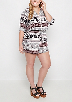 Plus Tribal Elephant Challis Romper