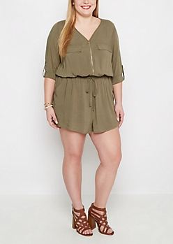 Plus Olive Zip-Down Romper