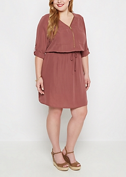 Plus Mauve Relaxed Shirt Dress