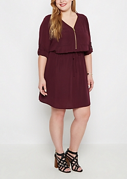 Plus Plum Relaxed Shirt Dress