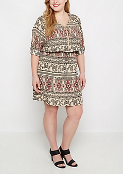 Plus Folklore Elephant Challis Shirt Dress