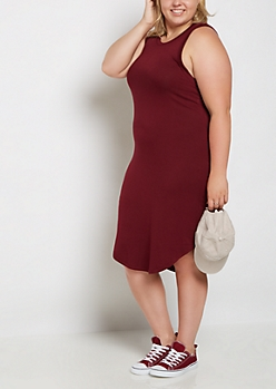 Plus Burgundy Jersey Knit Tank Dress