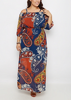 Retro Paisley Cold Shoulder Maxi Dress