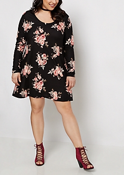 Plus Black Rose Brushed Swing Dress