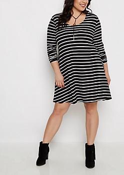 Plus Black Striped Brushed Swing Dress