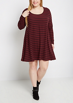 Plus Burgundy Striped Brushed Swing Dress