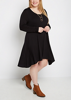 Plus Black Brushed Swing Dress