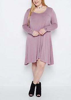 Plus Violet Brushed Swing Dress