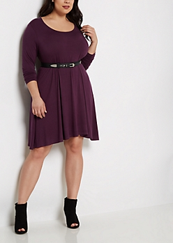 Plus Purple Brushed Swing Dress