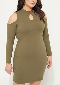 Plus Olive Cold Shoulder Soft Knit Midi Dress