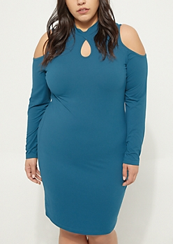 Plus Teal Cold Shoulder Soft Knit Midi Dress