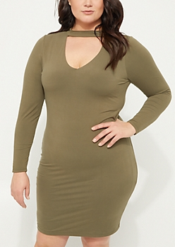 Plus Olive Keyhole Soft Knit Midi Dress