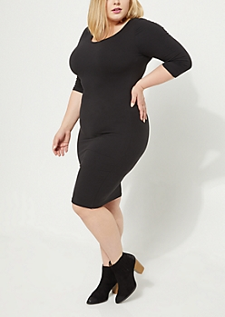 Plus Black Soft Knit Bodycon Midi Dress